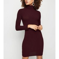 Burgundy Roll Neck Long Sleeve Bodycon Mini Dress New Look