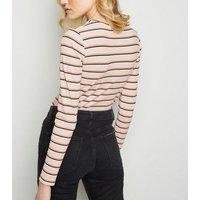 Pink Stripe Ribbed Long Sleeve Top New Look