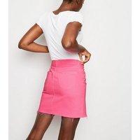Bright Pink Neon Denim Skirt New Look
