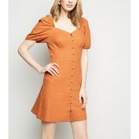 Rust Linen Blend Button Up Milkmaid Dress New Look