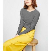 White Stripe Frill Hem Long Sleeve Top New Look