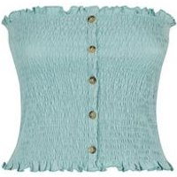 Mint Green Shirred Button Front Bandeau Top New Look