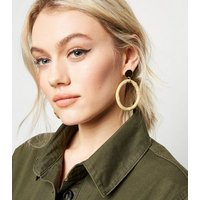 Cream Bamboo Hoop Drop Earrings New Look