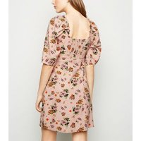 Pink Floral Linen Blend Milkmaid Dress New Look
