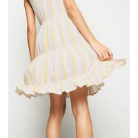 White Stripe Tiered Sundress New Look