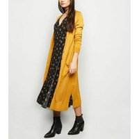 Mustard Fine Knit Button Up Longline Cardigan New Look