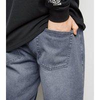 Men's Pale Grey Light Wash Denim Shorts New Look