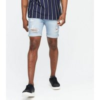 Pale Blue Ripped Denim Shorts New Look