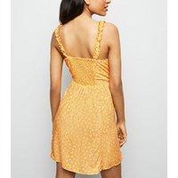 Petite Orange Ditsy Floral Frill Sundress New Look