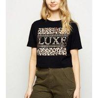 Cameo Rose Black Luxe Slogan Crop Top New Look