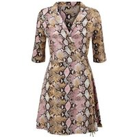 Blue Vanilla Pink Snake Print Wrap Dress New Look