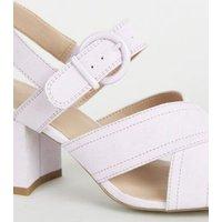 Girls Lilac Suedette Block Heel Sandals New Look
