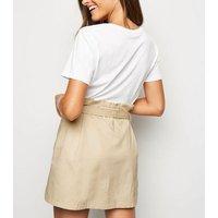 Pink Vanilla Stone Tie Waist Button Front Mini Skirt New Look