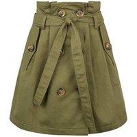 Pink Vanilla Olive Tie Waist Button Front Mini Skirt New Look
