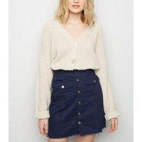 Pink Vanilla Navy Button Front Denim Skirt New Look