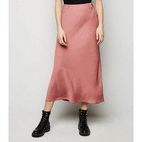 Rust Satin Bias Cut Midi Skirt New Look
