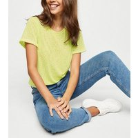 Yellow Neon Leopard Burnout T-Shirt New Look