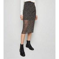 Black Ditsy Floral Mesh Midi Skirt New Look
