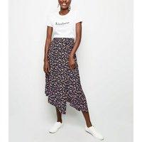 Tall Black Ditsy Floral Hanky Hem Midi Skirt New Look