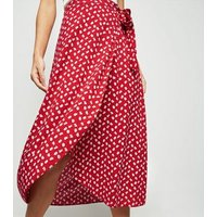 Red Ditsy Floral Wrap Midi Skirt New Look