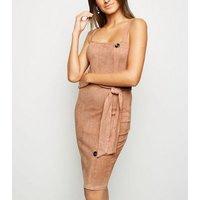 AX Paris Camel Suedette Button Side Dress New Look