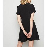 Black Button Up Tea Dress New Look