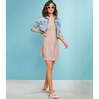 Pink Ditsy Floral Button Front Tea Dress New Look