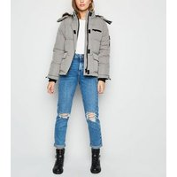Pale Grey Faux Fur Short Puffer Jacket New Look