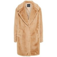 Camel Faux Fur Longline Coat New Look