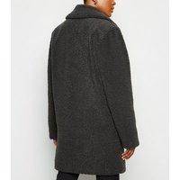 Dark Grey Double Breasted Longline Teddy Coat New Look