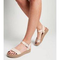Nude Leather-Look Flatform Footbed Sandals New Look Vegan