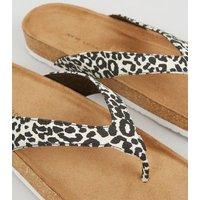 Wide Fit Stone Leopard Print Sliders New Look