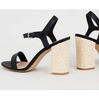 Black Leather-Look Block Heel Sandals New Look