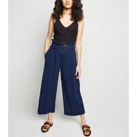 Petite Navy Linen Look Crop Trousers New Look