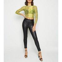 yellow-neon-high-neck-snake-print-mesh-top-new-look