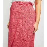 Curves Pink Floral Wrap Front Midi Skirt New Look