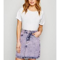 Petite Purple Acid Wash Denim Skirt New Look