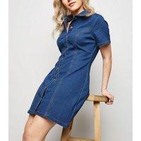 Petite Blue Button Front Denim Dress New Look