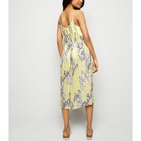 Petite Yellow Neon Snake Print Pleated Midi Dress New Look