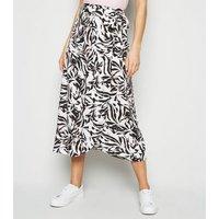 Tall White Zebra Wrap Midi Skirt New Look