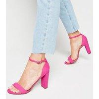 Wide Fit Bright Pink Suedette Block Heel Sandals New Look