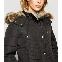 Black Faux Fur Trim Fitted Puffer Jacket New Look