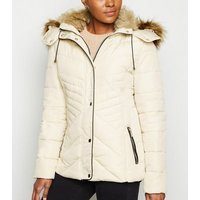 Stone Faux Fur Trim Fitted Puffer Jacket New Look