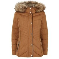 Rust Faux Fur Trim Fitted Puffer Jacket New Look