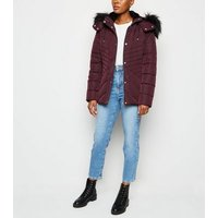 Burgundy Faux Fur Trim Fitted Puffer Jacket New Look
