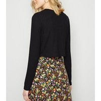 Black Fine Knit Ribbed Button Front Cardigan New Look