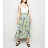 Tall Green Snake Print Pleated Midi Skirt New Look