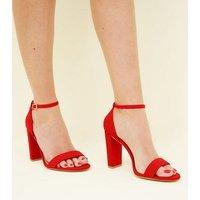 Wide Fit Red Suedette 2 Part Block Heels New Look Vegan