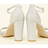 Wide Fit Silver Glitter Block Heels New Look Vegan