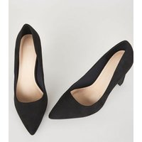 Wide Fit Black Suedette Block Heel Courts New Look Vegan